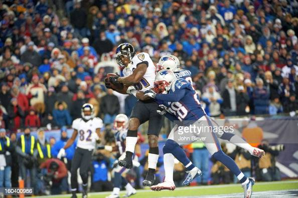 AFC Playoffs Baltimore Ravens Anquan Boldin in action making touchdown catch vs New England Patriots Devin McCourty and Steve Gregory during 4th...