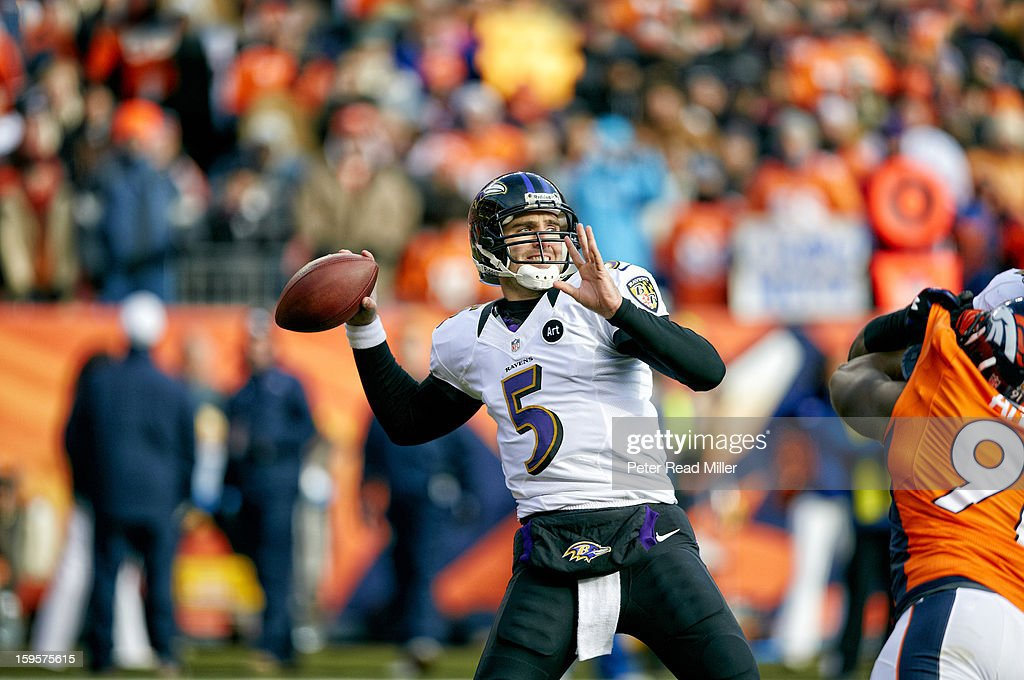 Baltimore Ravens QB Joe Flacco (5) in action, pass vs Denver Broncos at Sports Authority Field at Mile High. Cover. Peter Read Miller F17 )