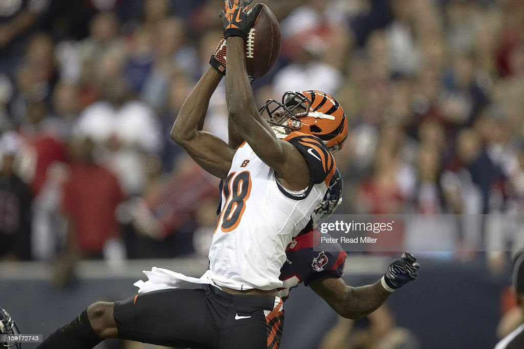 Cincinnati Bengals A.J. Green (18) in action, making catch vs Houston Texans at Reliant Stadium. Peter Read Miller F843 )