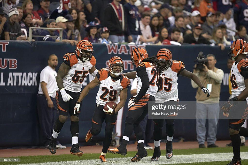 Cincinnati Bengals Leon Hall (29) victorious after interception return for touchdown vs Houston Texans at Reliant Stadium. Peter Read Miller F1545 )