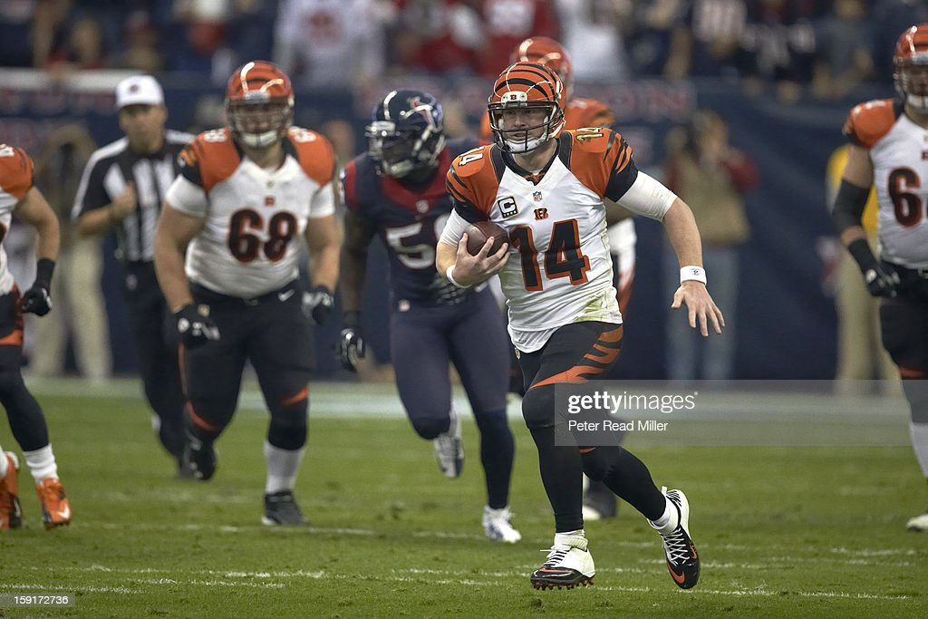 Cincinnati Bengals QB Andy Dalton (14) in action vs Houston Texans at Reliant Stadium. Peter Read Miller F396 )