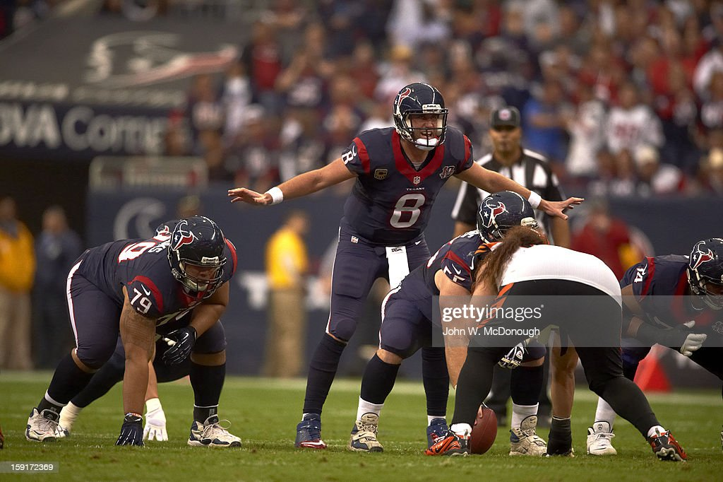 Houston Texans QB Matt Schaub (8) at line of scrimmage during game vs Cincinnati Bengals at Reliant Stadium. John W. McDonough F165 )