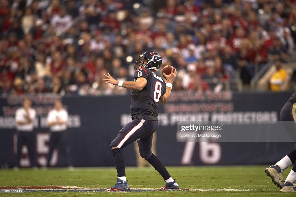 Houston Texans QB Matt Schaub (8) in action, making pass vs Cincinnati Bengals at Reliant Stadium. John W. McDonough F74 )
