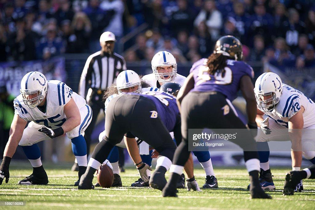 Indianapolis Colts QB Andrew Luck (12) calling signals during game vs Baltimore Ravens at M&T Bank Stadium. David Bergman F115 )