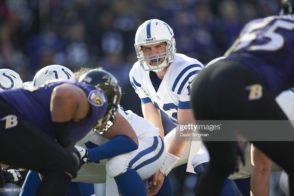 Indianapolis Colts QB Andrew Luck (12) calling signals during game vs Baltimore Ravens at M&T Bank Stadium. David Bergman F246 )