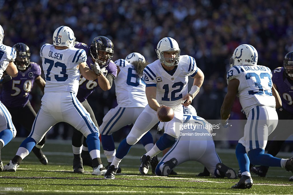 Indianapolis Colts QB Andrew Luck (12) in action vs Baltimore Ravens at M&T Bank Stadium. Damian Strohmeyer F76 )