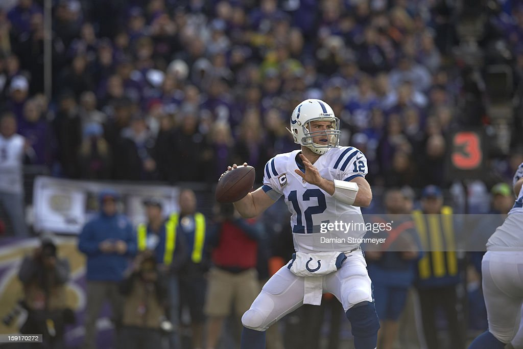 Indianapolis Colts QB Andrew Luck (12) in action vs Baltimore Ravens at M&T Bank Stadium. Damian Strohmeyer F106 )