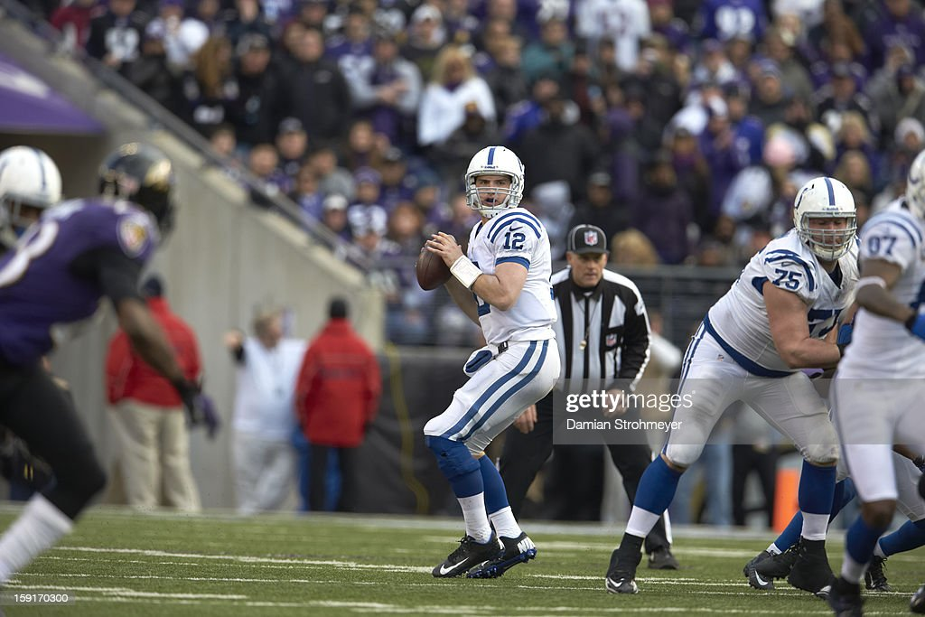 Indianapolis Colts QB Andrew Luck (12) in action vs Baltimore Ravens at M&T Bank Stadium. Damian Strohmeyer F63 )