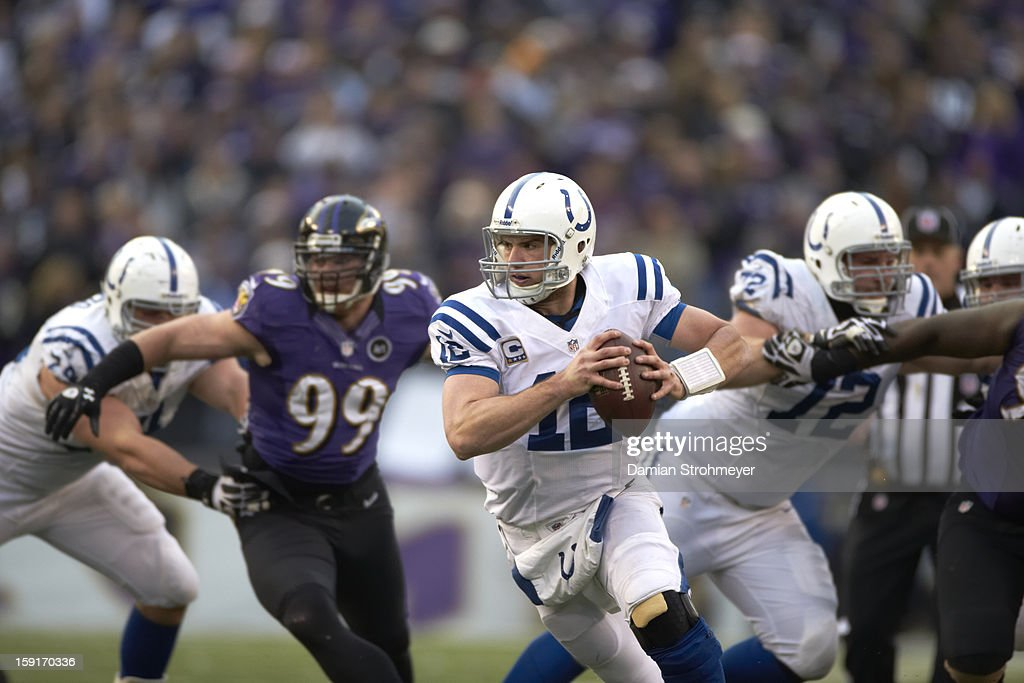 Indianapolis Colts QB Andrew Luck (12) in action vs Baltimore Ravens at M&T Bank Stadium. Damian Strohmeyer F85 )