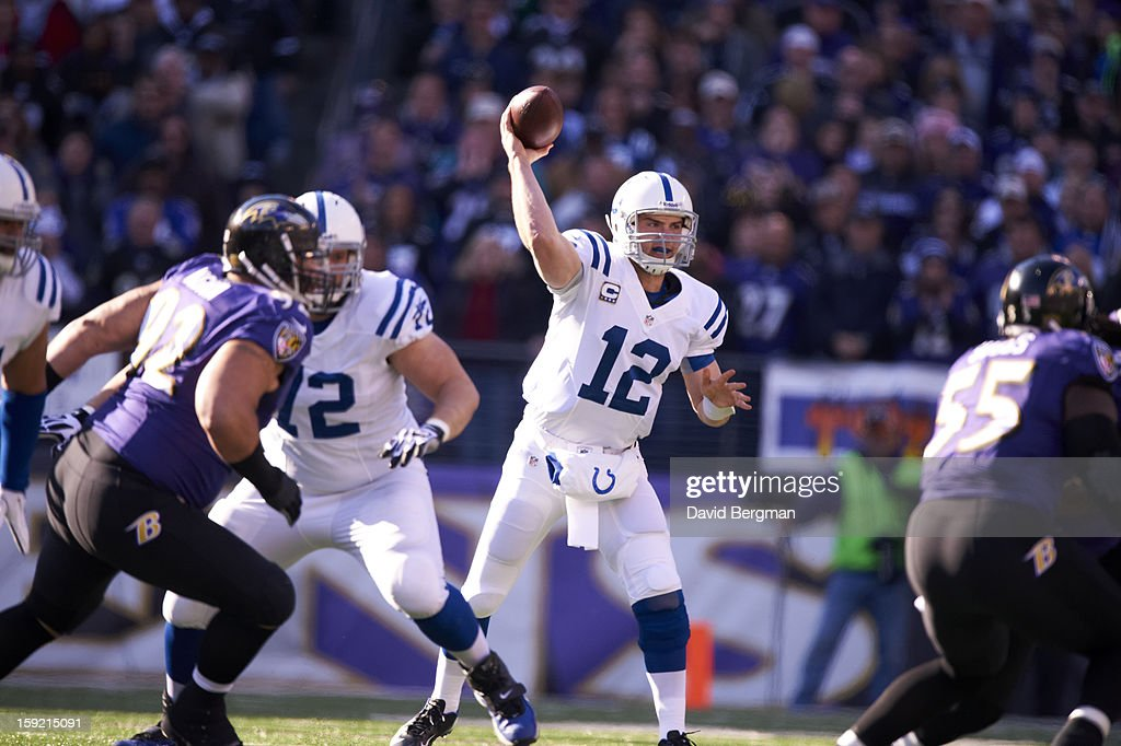 Indianapolis Colts QB Andrew Luck (12) in action, passing vs Baltimore Ravens at M&T Bank Stadium. David Bergman F22 )