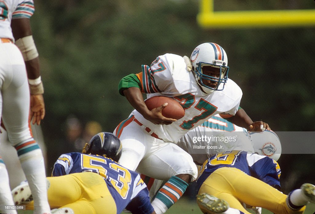 Miami Dolphins Andra Franklin (37) in action, rushing vs San Diego Chargers at Orange Bowl Stadium. Cover. Walter Iooss Jr. F26 )