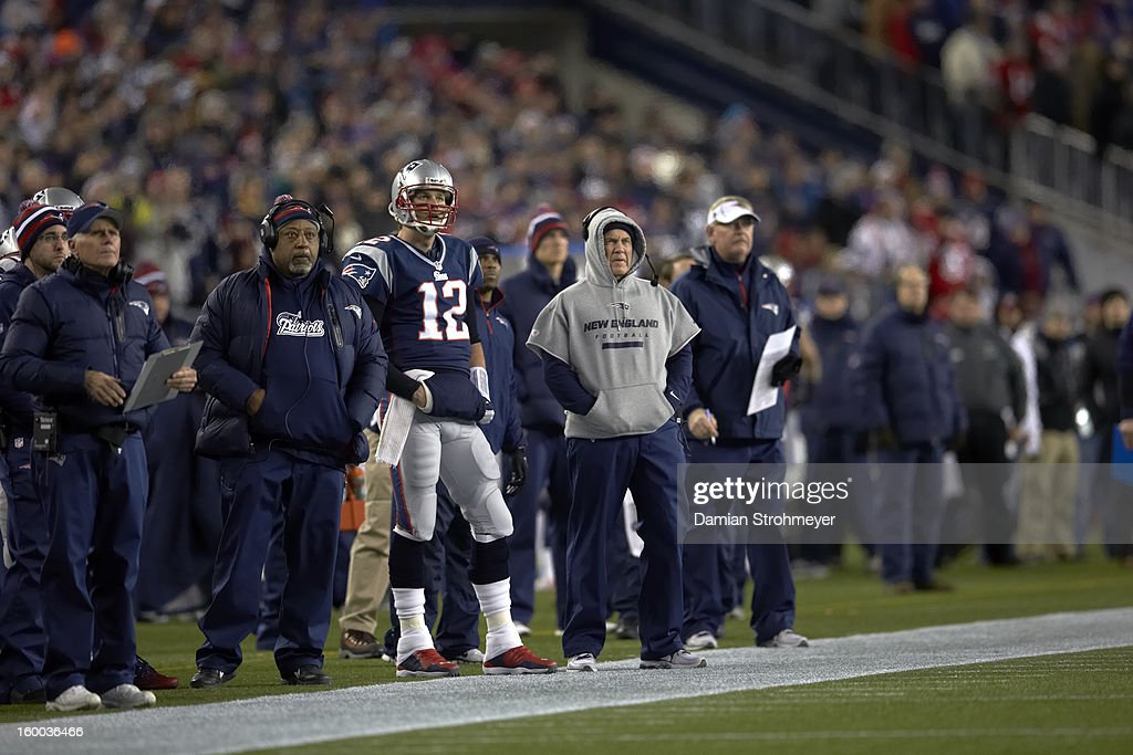 New England Patriots QB Tom Brady (12) and Bill Belichick on sidelines during game vs Baltimore Ravens at Gillette Stadium. Damian Strohmeyer F250 )