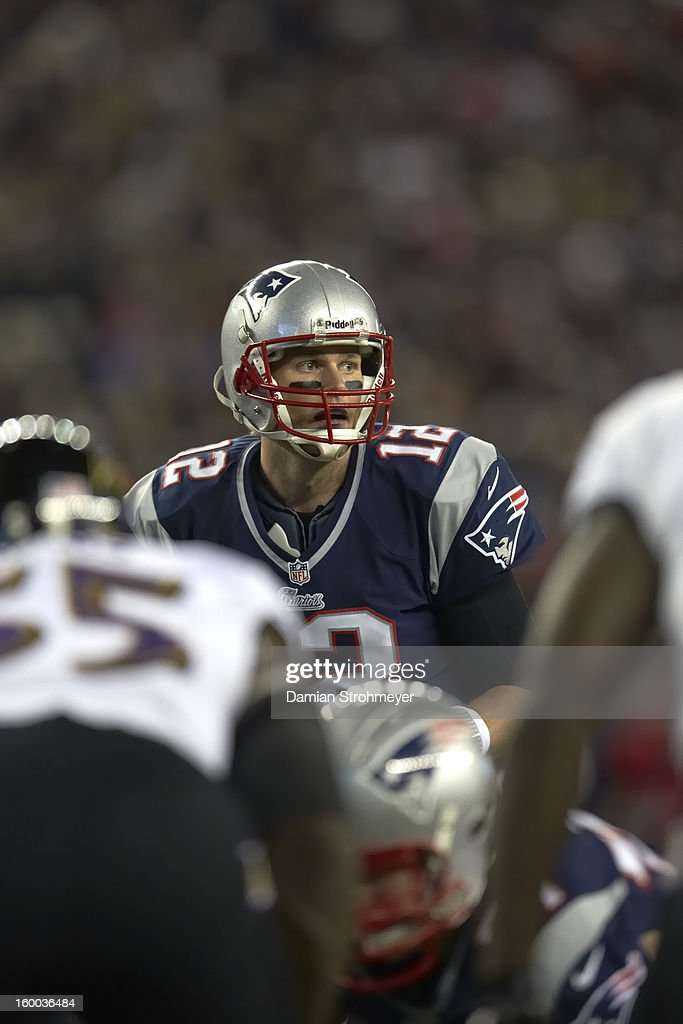 New England Patriots QB Tom Brady (12) calling signals during game vs Baltimore Ravens at Gillette Stadium. Damian Strohmeyer F171 )