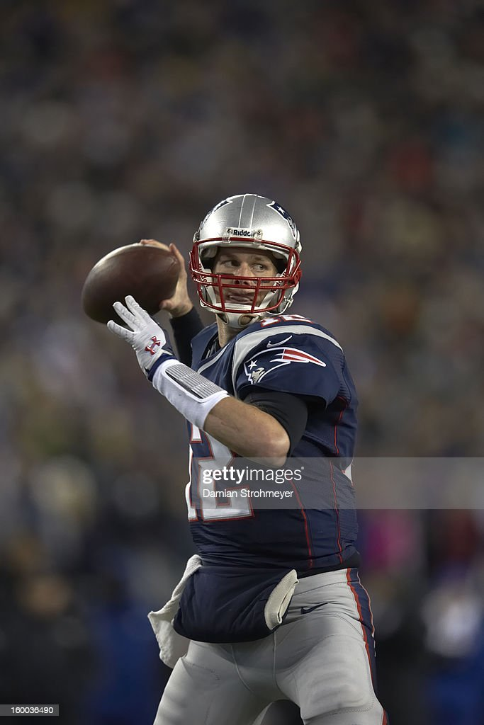 New England Patriots QB Tom Brady (12) in action vs Baltimore Ravens at Gillette Stadium. Damian Strohmeyer F274 )
