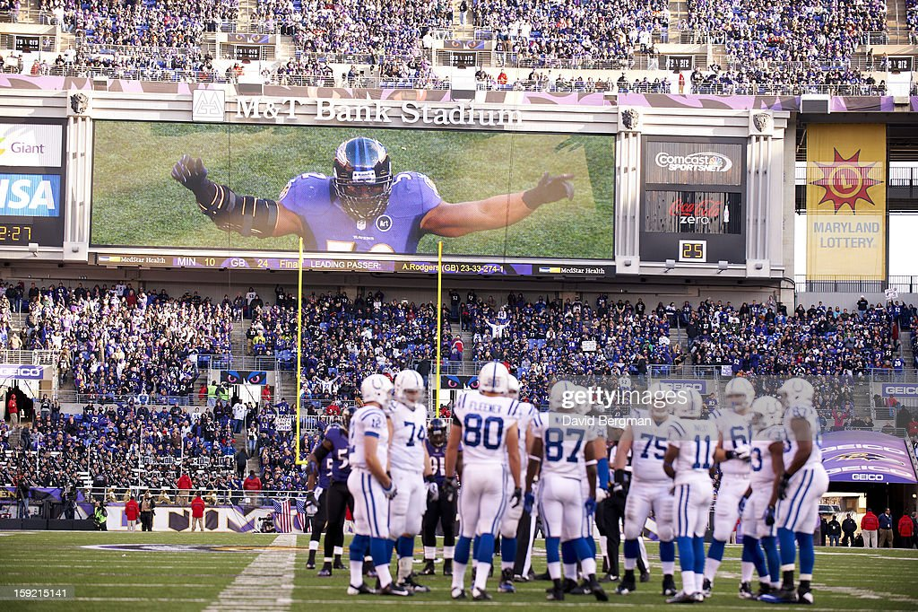 View of Baltimore Ravens Ray Lewis (52) on scoreboard during game vs Indianapolis Colts at M&T Bank Stadium. David Bergman F7 )