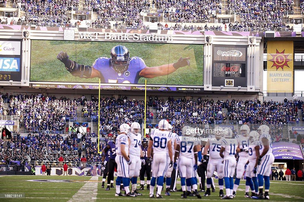 View of Baltimore Ravens Ray Lewis (52) on scoreboard during game vs Indianapolis Colts at M&T Bank Stadium. David Bergman F7 )