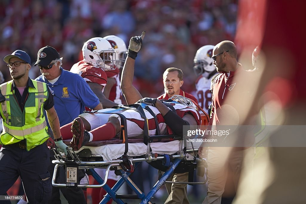 Arizona Cardinals Calais Campbell (93) on stretcher leaving field after sustaining injury during game vs San Francisco 49ers at Candlestick Park. Jed Jacobsohn F2268 )