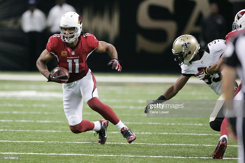Arizona Cardinals Larry Fitzgerald (11) in action vs New Orleans Saints at Mercedes-Benz Superdome. Gene Lower