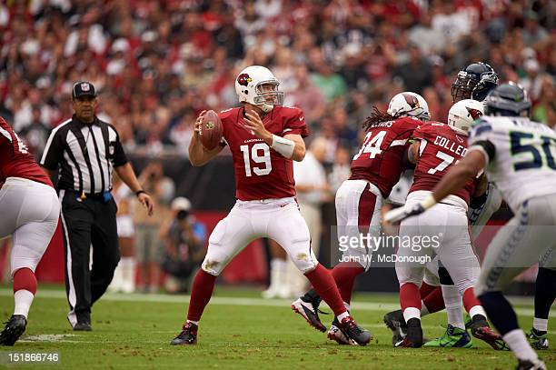 Arizona Cardinals QB John Skelton in action passing vs Seattle Seahawks at University of Phoenix Stadium Glendale AZ CREDIT John W McDonough