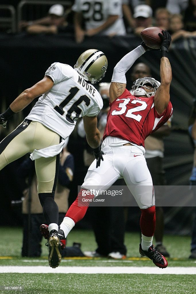 Arizona Cardinals Tyrann Mathieu (32) in action, making interception vs New Orleans Saints at Mercedes-Benz Superdome. Gene Lower