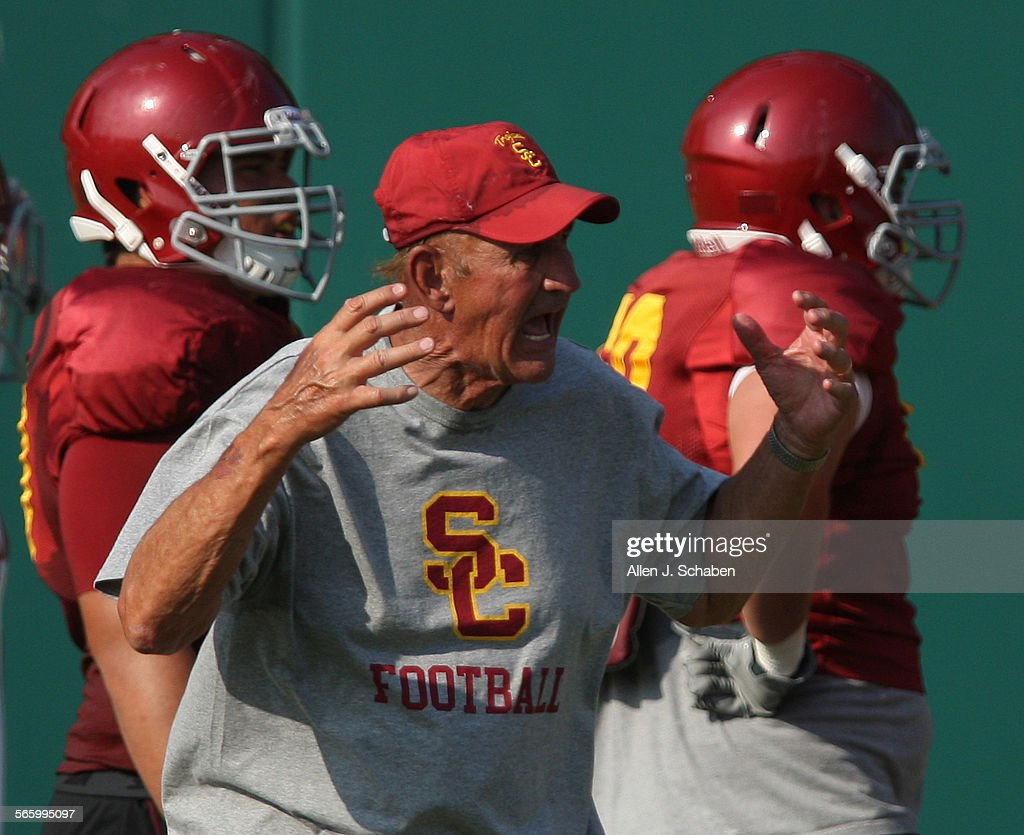 USC football assistant head coach Monte Kiffin directs the team during practice at USC Friday Aug 17 2012