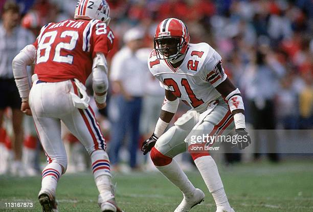 Atlanta Falcons Deion Sanders in action defense vs New England Patriots Sammy Martin at AtlantaFulton County Stadium Atlanta GA CREDIT John Biever