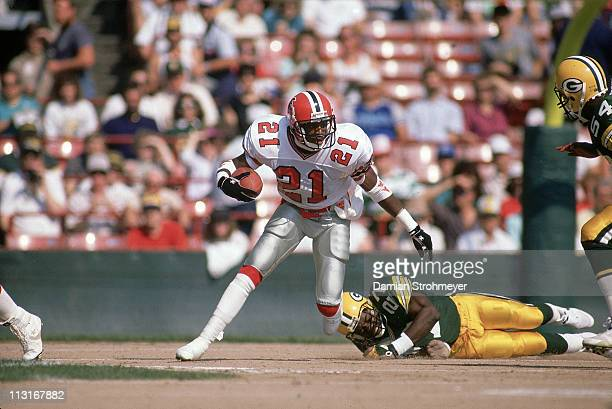 Atlanta Falcons Deion Sanders in action returning interception vs Green Bay Packers at County Stadium Milwaukee WI 10/1/1989CREDIT Damian Strohmeyer