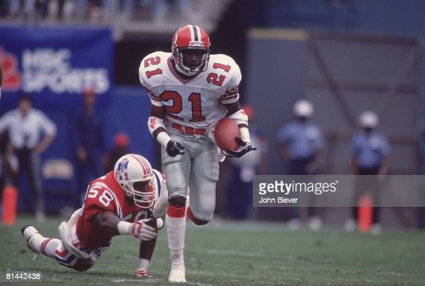 Football Atlanta Falcons Deion Sanders in action vs New England Patriots Atlanta GA