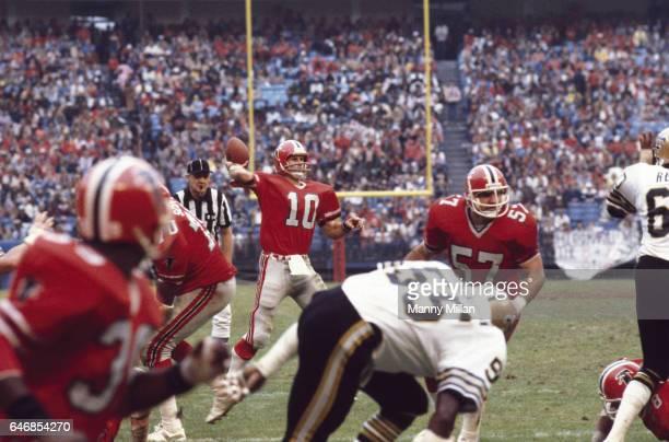 Atlanta Falcons QB Steve Bartkowski in action making pass vs New Orleans Saints at AtlantaFulton County Stadium Atlanta GA CREDIT Manny Millan