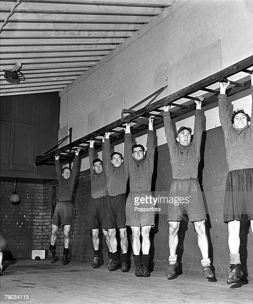 Football August 1946 A picture of the Everton football team during practice