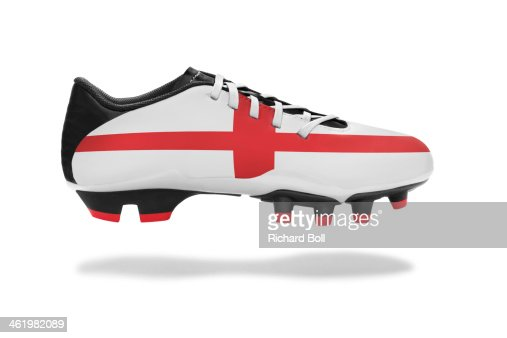 A football boot with an English flag design