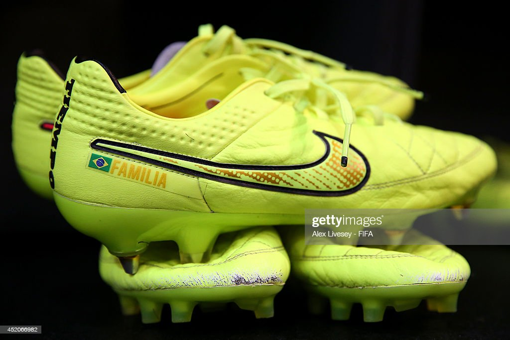 Football boots are displayed in the Brazil dressing room prior to the 2014 FIFA World Cup Brazil 3rd Place Playoff match between Brazil and Netherlands at Estadio Nacional on July 12, 2014 in Brasilia, Brazil.