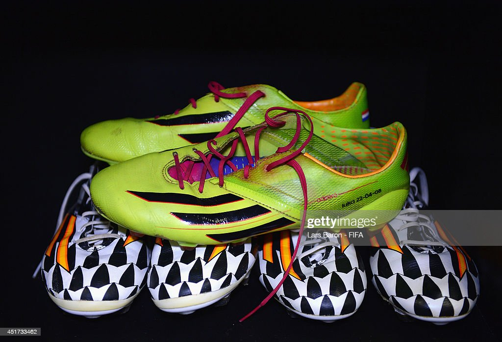 Football boots worn by Arjen Robben of the Netherlands are displayed in the dressing room prior to the 2014 FIFA World Cup Brazil Quarter Final match between Netherlands and Costa Rica at Arena Fonte Nova on July 5, 2014 in Salvador, Brazil.