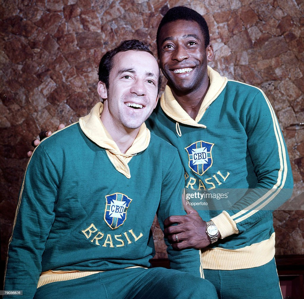 Football Brazil s Tostao left and Pele stars of the victorious