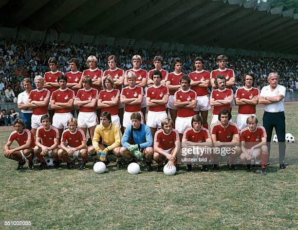 football Bundesliga 1976/1977 1 FC Cologne team presentation team shot behind fltr Herbert Zimmermann Dieter Mueller Herbert Neumann Ferdinand Rohde...