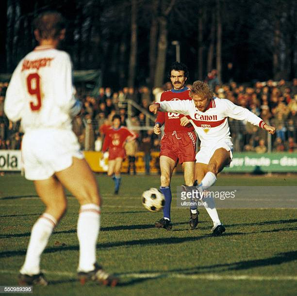 football Bundesliga 1979/1980 Grotenburg Stadium FC Bayer 05 Uerdingen versus VfB Stuttgart 42 scene of the match Rainer Ruehle shooting at goal...