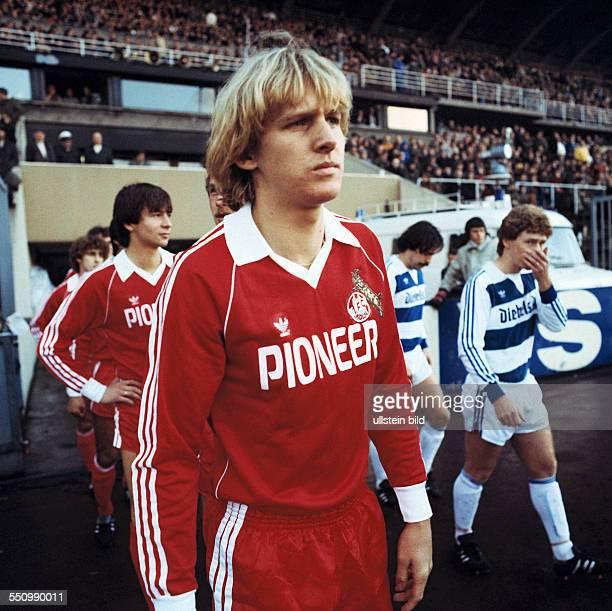 football Bundesliga 1979/1980 Wedau Stadium MSV Duisburg versus 1 FC Cologne 02 runningin of the teams ahead Bernd Schuster behind Stephan Engels...