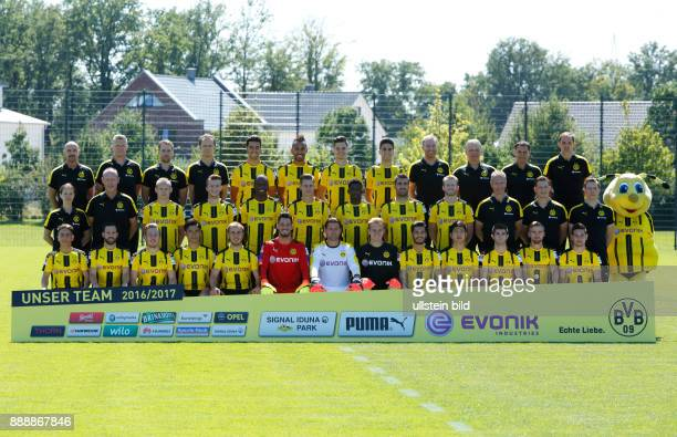 football Bundesliga 2016/2017 team shot of Borussia Dortmund row1fa fltr physiotherapist Thomas Zetzmann physiotherapist Peter Kuhnt physiotherapist...