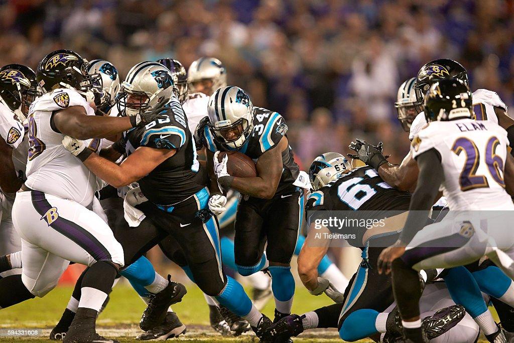 Carolina Panthers Cameron ArtisPayne in action rushing vs Baltimore Ravens during preseason game at MT Bank Stadium Baltimore MD CREDIT Al Tielemans