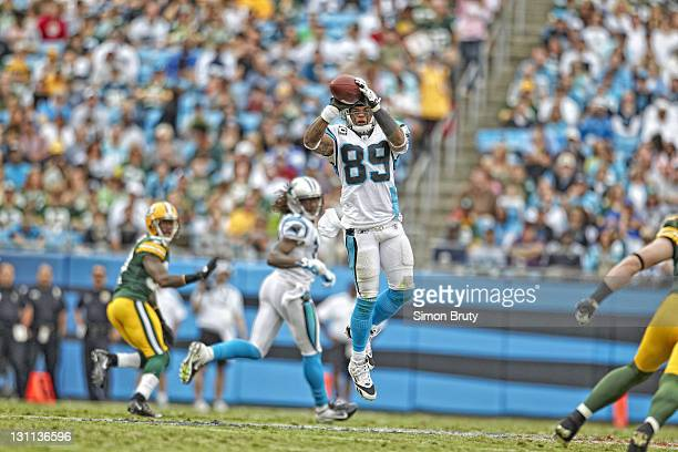 Carolina Panthers Steve Smith in action making catch vs Green Bay Packers at Bank of America Stadium Charlotte NC CREDIT Simon Bruty