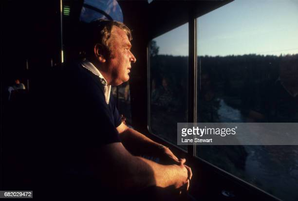 CBS broadcaster and former Oakland Raiders coach John Madden looking out of train window during photo shoot Pleasanton CA CREDIT Lane Stewart