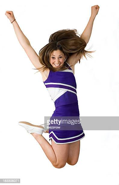 Football Cheerleader Jumping, Isolated On White