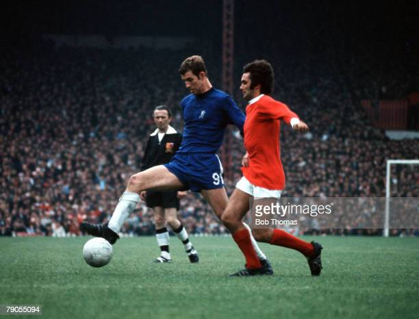 Football Chelseas Peter Osgood is challenged for the ball by Manchester Uniteds George Best circa 1968