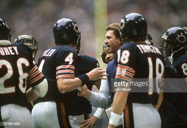 Chicago Bears head coach Mike Ditka and QB Steve Fuller on sidelines during game vs Dallas Cowboys at Texas Stadium Irving TX CREDIT John Biever