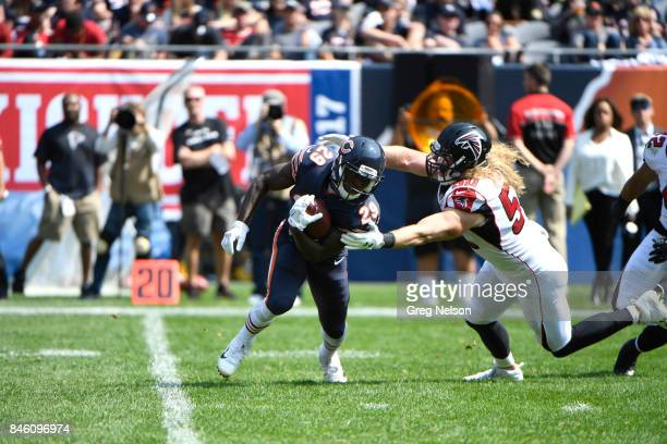 Chicago Bears Tarik Cohen in action rushing vs Atlanta Falcons Brooks Reed at Soldier Field Chicago IL CREDIT Greg Nelson