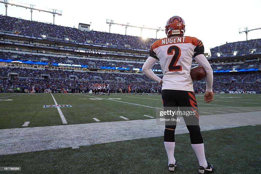 Cincinnati Bengals kicker Mike Nugent (2) on sidelines before game vs Baltimore Ravens at M&T Bank Stadium. Simon Bruty F110 )