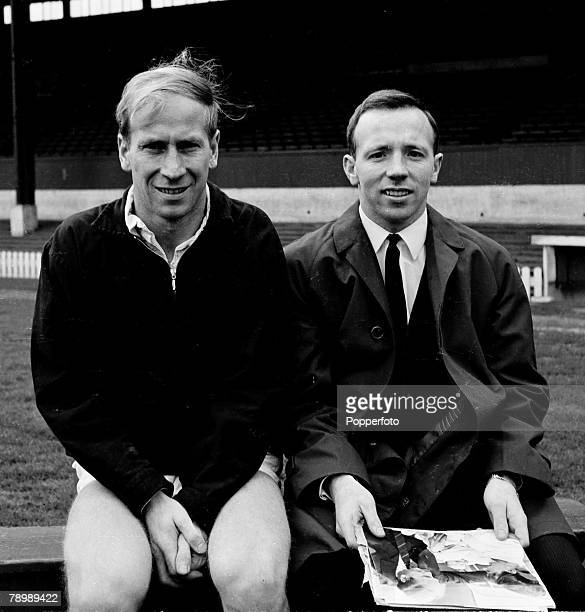 Football Circa 1960's Manchester United's Bobby Charlton and Nobby Stiles sitting togther