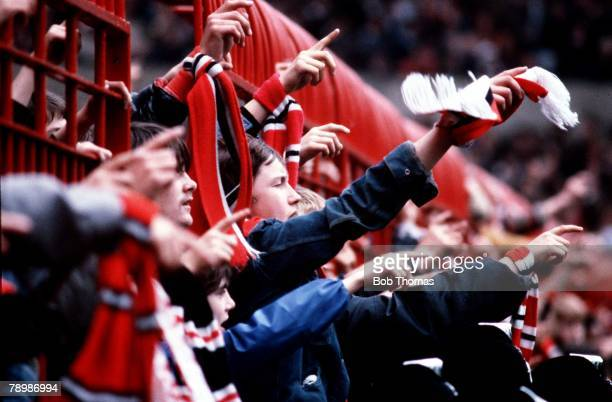 Football Circa 1970's A section of a crowd as they react to a decision during the Manchester United v Sunderland game