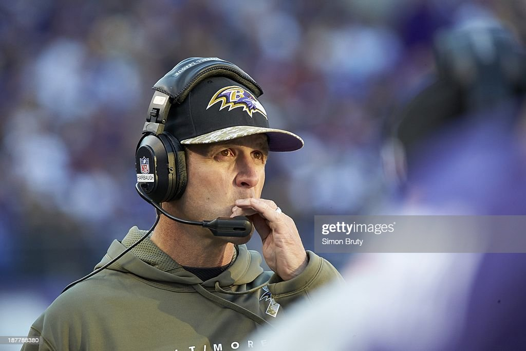 Closeup of Baltimore Ravens head coach John Harbaugh on sidelines during game vs Cincinnati Bengals at M&T Bank Stadium. Simon Bruty F563 )
