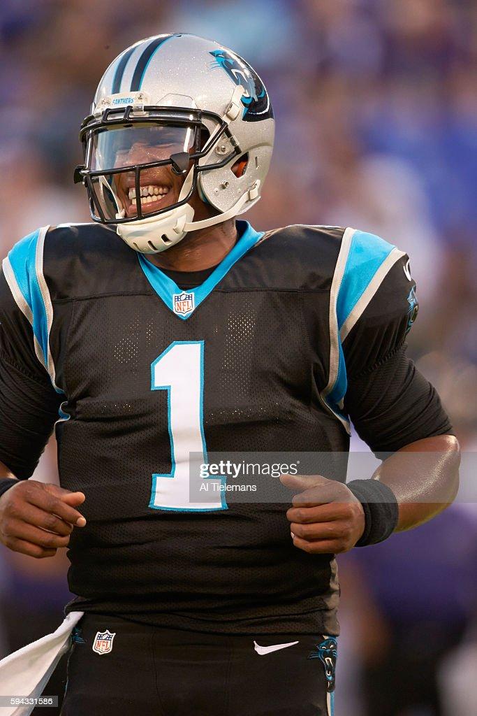 Closeup of Carolina Panthers QB Cam Newton on field before preseason game vs Baltimore Ravens at MT Bank Stadium Baltimore MD CREDIT Al Tielemans
